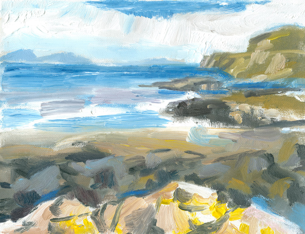 small plein air painting in oils of a sunny day at Loch Pooltiel
