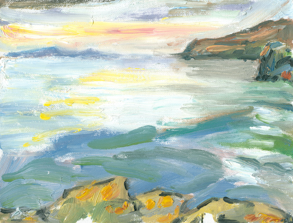 sunset and swelling waves at Loch Pooltiel, small plein air oil sketch on canvas