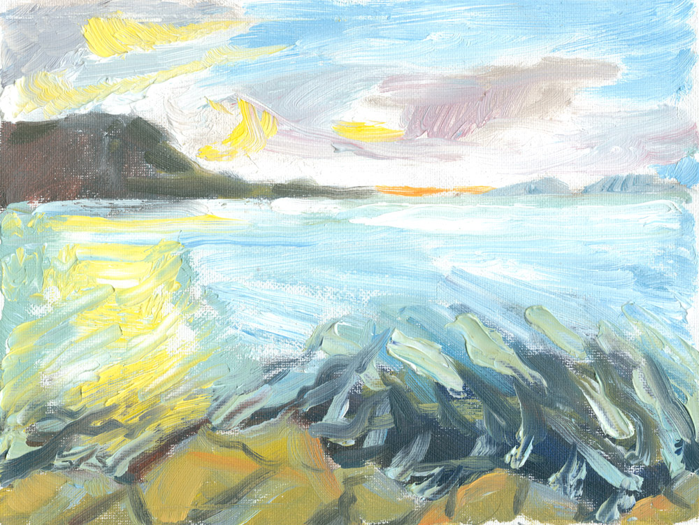 second plein air painting of sunset at Loch Pooltiel