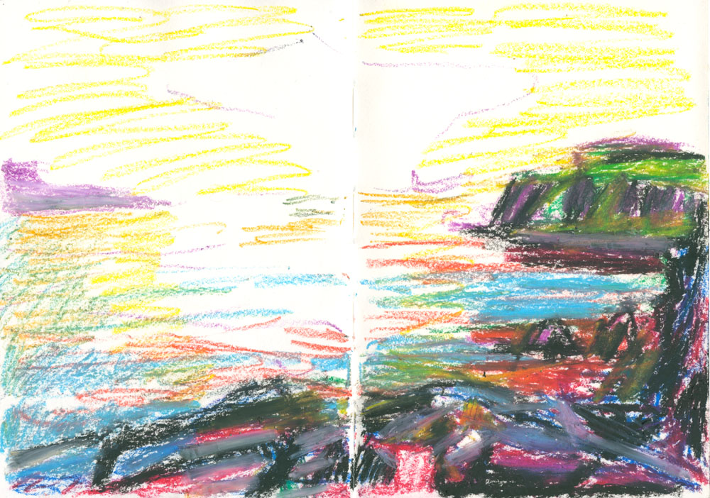 oil pastel plein air sketch, Skye sunset