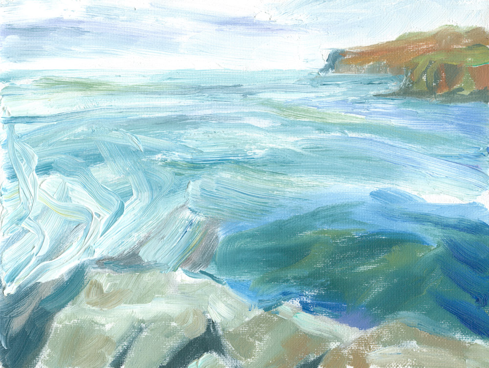 painting of Loch Pooltiel seascape, in oils on small canvas