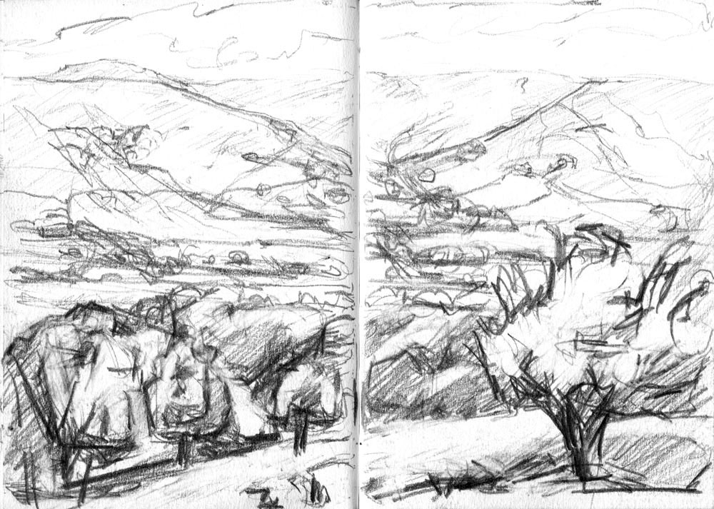 Bowland landscape plein air drawing in pencil, A5
