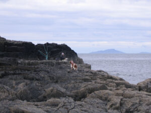 Tilly and I on the rocks at Ramasaig