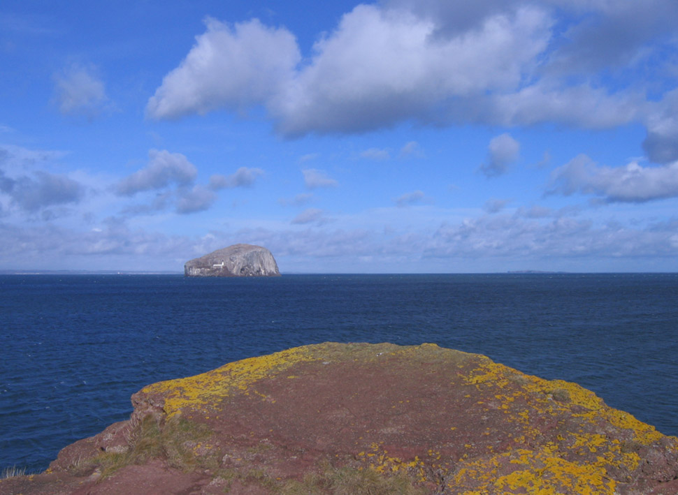 Bass Rock and beach rock composition