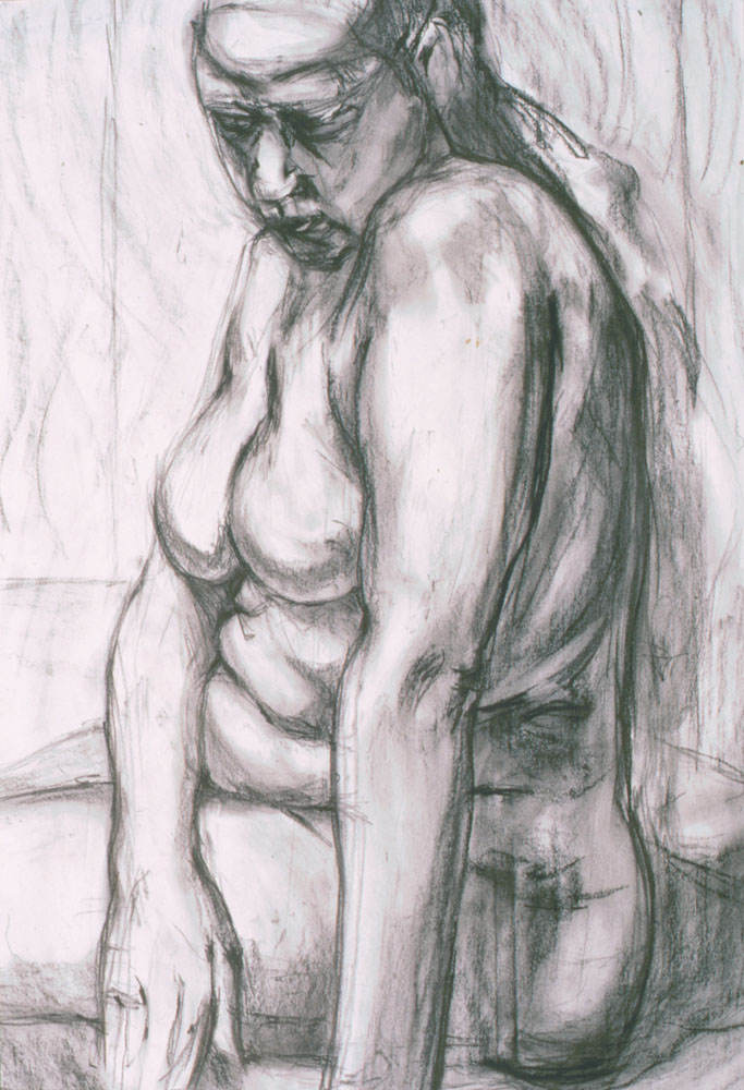 life drawing, charcoal on paper