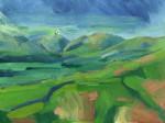 oil painting of Tebay fells in sun