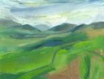 oil painting of Tebay gorge in cloud