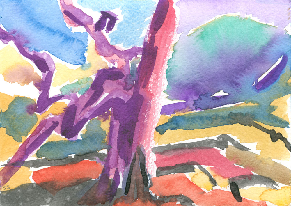 watercolour painting of a lonely tree