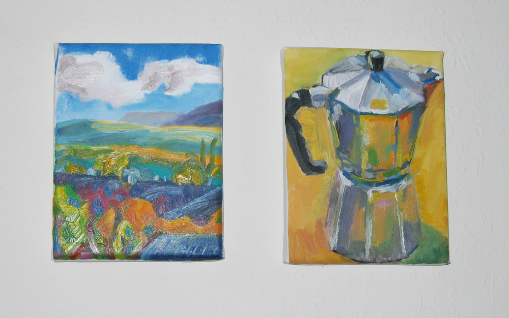 photo of two small paintings