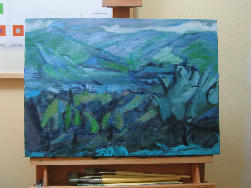photo of unfinished oil painting depicting rainy landscape