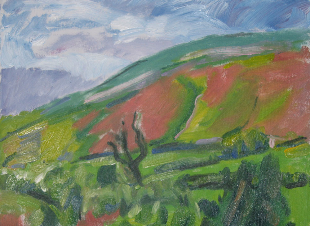 painting of window view, tree and fell in oils