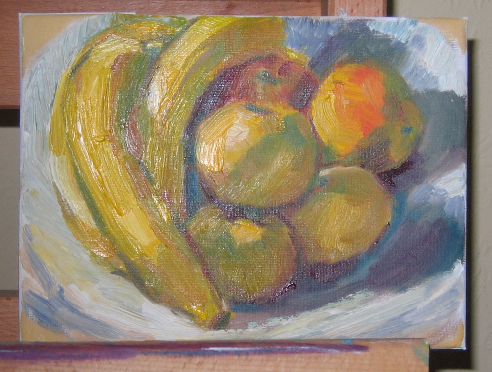 still life oil painting of yellow fruit